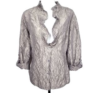 Chico's Metallic Taupe Crinkle Jacket